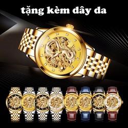 Đồng hồ cơ rồng vàng nổi 3d