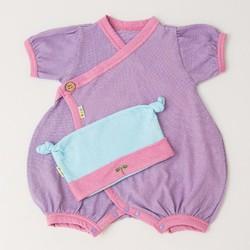 Bộ Kimono và Mũ Nhật Bản cho bé 0-6 tháng tuổi màu tím