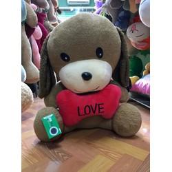 Thú bông gấu bông chó ôm xương I Love You 60cm