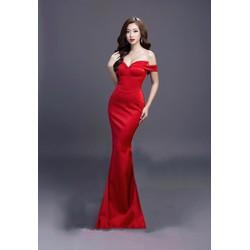 Đầm dạ hội kiểu cúp ngực trễ vai đuôi cá