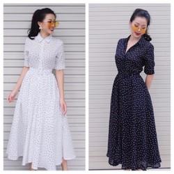 M,L,XL,XXL-Đầm Xòe Chấm Bi Vintage Cổ Sơ Mi-TQS416