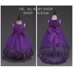 Đầm công chúa đuôi dài xoè đính kim tuyến có nơ hoa siêu xinh bé gái