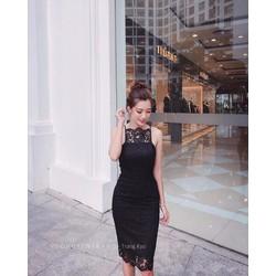 Đầm ren cổ yếm