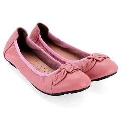 Giày nữ búp bê da bò màu hồng phấn
