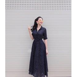 Đầm Xòe Chấm Bi Vintage Cổ Sơ Mi