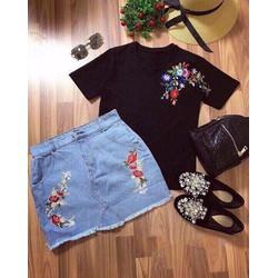 Set Quần Váy Jean Và Áo Thêu Rất Đẹp