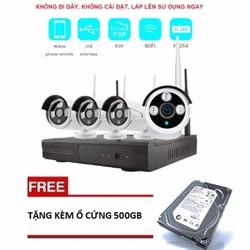 Bộ 4 Camera WIFI 720P + Đầu Ghi NVR HD + Ổ Cứng Lưu Trữ 500GB