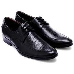 Giày tây nam vân đà điểu cột dây màu đen