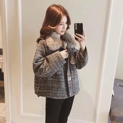 áo khoác dạ cổ lông tháo dời - size s m