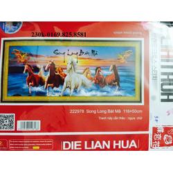 Tranh theu chu thap song long bat ma 222978 116x50cm