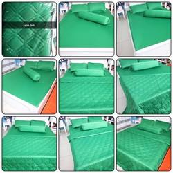 Xả kho bộ drap giường + 3 vỏ gối nằm thun Hàn Quốc mát mịn xanh lính