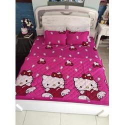 Xả kho bộ drap giường cotton poly ềm mịn giá rẻ kitty hồng