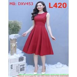 Đầm xòe công sở sát nách xinh đẹp như công chúa DXV453