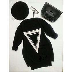 Đầm len họa tiết tam giác ngược