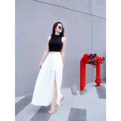 Chuyên sỉ - Set áo croptop với chân váy maxi xẻ tà màu trắng
