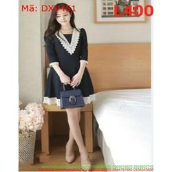 Đầm xòe công sở cổ V phối viền ren xinh xắn và thanh lịch DXV451