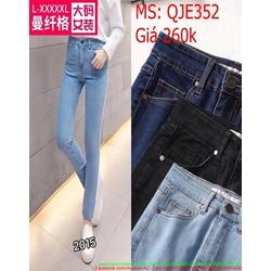 Quần jean nữ lưng cao ống ôm kiểu dáng đơn giản thời trang QJE352