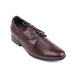 Giày tăng chiều cao da bò cột dây màu nâu