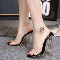 Giày sandal cao gót đế trong 9p