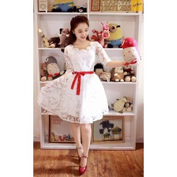 Đầm Dự Tiệc Ren Hoa Cột Nơ Hot