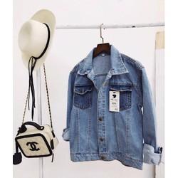 Áo khoác jean 2 túi nắp màu