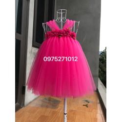 Đầm hồng sen hoa chiffon