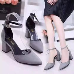 Giày cao gót bít mũi da lộn