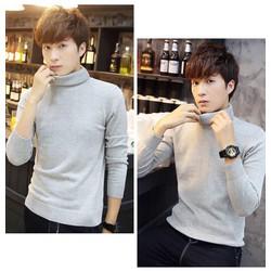 áo len nam cổ lọ màu ghi Hàn Quốc