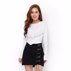 Áo thun nữ tay dài xoắn eo phong cách màu trắng