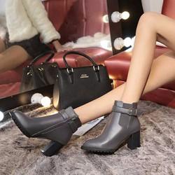 Giày bốt nữ cao gót mũi nhọn