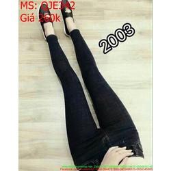 Quần jean nữ lưng cao màu đen trơn cá tính và phong cách QJE342