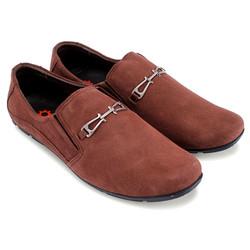 Giày mọi nam da lộn có khóa màu nâu