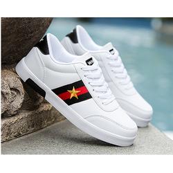 giày thể thao nam trắng da cao cấp 3 sọc ngôi sao 2 màu đen ,trắng