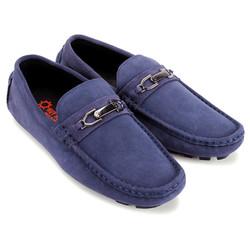 Giày mọi nam da lộn có khóa màu xanh đậm