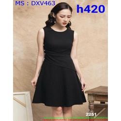 Đầm xòe dự tiệc sát nách màu đen kiểu mới lạ sành điệu DXV463