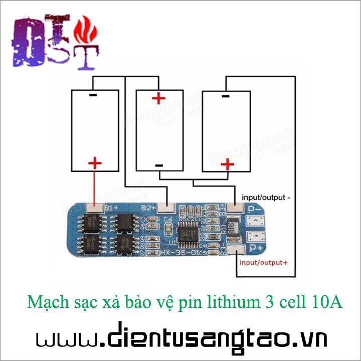 Mạch sạc xả bảo vệ pin lithium 3 cell 10A 3
