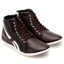 Giày nam cổ cao màu nâu phối trắng