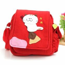 Túi vải đeo chéo thời trang hình chú mèo đáng yêu cho bé