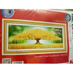 Tranh theu chu thap Giàu sang phú quý 88811 92x41cm