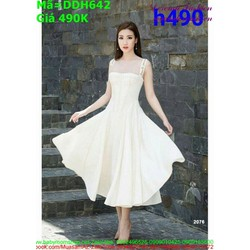 Đầm xòe dự tiệc màu trắng thiết kế 2 dây cúp ngực sexy DXV642