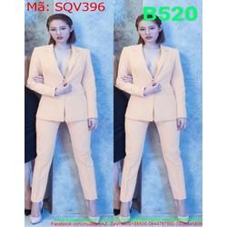 Sét áo khoác vest xẻ cổ V và quần dài ôm dáng đẹp thời trang SQV396