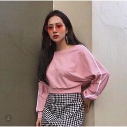 Áo croptop hồng tay viền