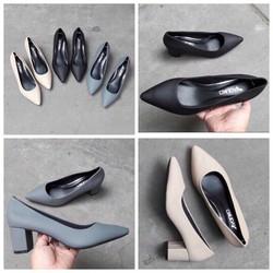 Giày cao gót bít mũi công sở, gót thô 5cm