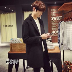 Áo khoác dạ đen một khuy thời trang nam cao cấp ES59