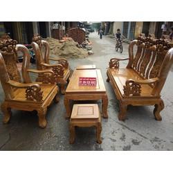 Bộ bàn ghế giả cổ trạm hoa lá tây tay 12 gỗ lim