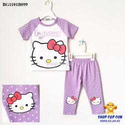 Size 9-15. Bộ quần dài mèo kitty màu tím nhạt chấm bi