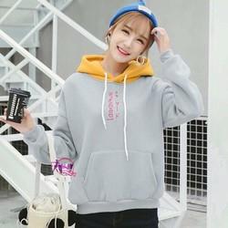 Áo hoodie nữ thời trang, ghép màu họa tiết đặc biệt