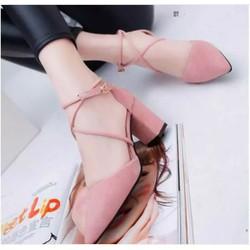 Giày cao gót đế vuông chất liệu cao cấp dành cho nữ