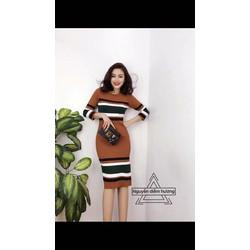 Đầm len sọc phối nhiều màu
