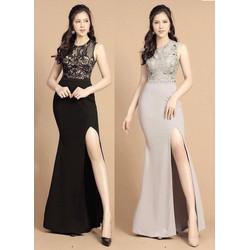 Hàng Thiết Kế- Đủ Size-Đầm dạ hội phối ren xẻ tà cao cấp